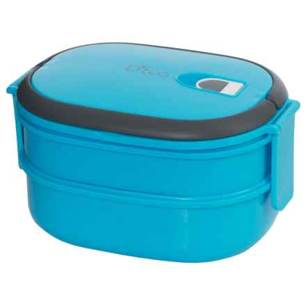 Deco D'Eco Two-Tier Tiffin Stacking Lunch Box - Vacuum Seal Lid in Blue - Closeouts