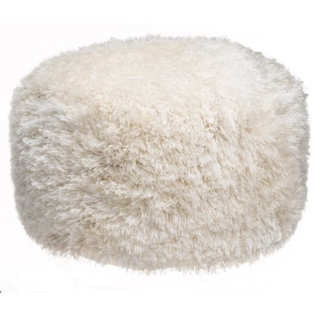 """Deco Floor Round Ivory Core Shag Pouf Ottoman - 24x24x14"""" in Ivory"""