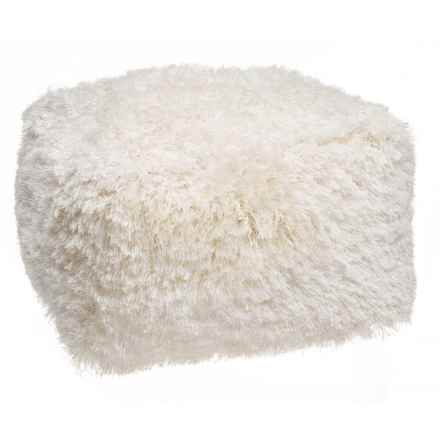 """Deco Floor Square Ivory Core Shag Pouf Ottoman - 24x24x14"""" in Ivory - Closeouts"""