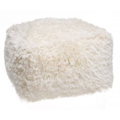 """Deco Floor Square Ivory Core Shag Pouf Ottoman - 24x24x14"""" in Ivory"""