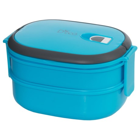 D'Eco Two-Tier Tiffin Stacking Lunch Box - Vacuum Seal Lid in Blue