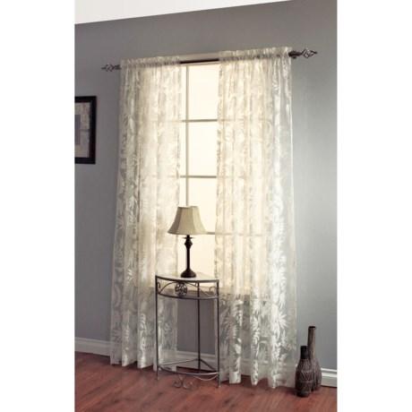 """Decor Premier Leaves Botanical Burnout Sheer Curtains - 84"""", Rod Pocket in Ivory"""