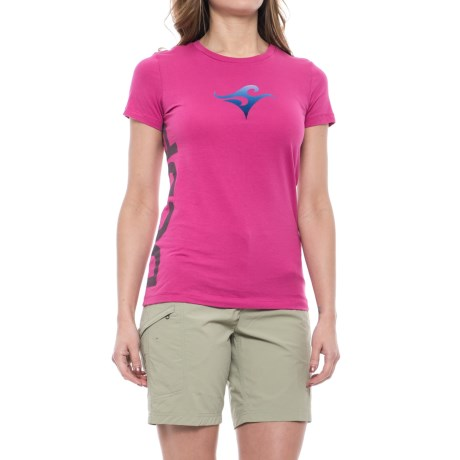 Deep Crew Neck T-Shirt - Short Sleeve (For Women) in Berry