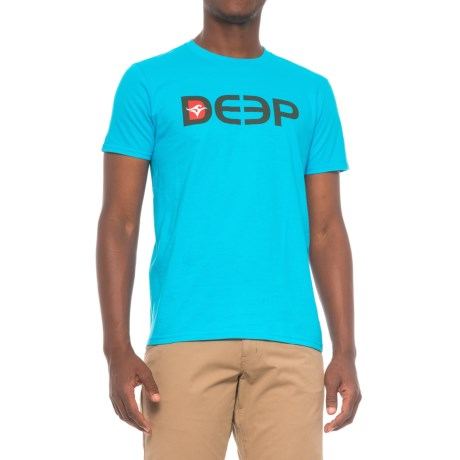 Deep DEEP Cotton Teal T-Shirt - Crew Neck, Short Sleeve (For Men) in Teal