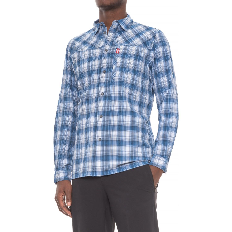 Deep high performance plaid button down shirt for men for A long sleeve shirt