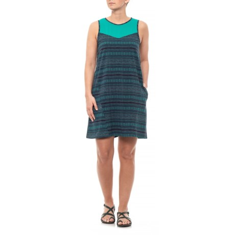 Image of Deep Navy Bird Print Sunkissed Swing Dress - UPF 40+, Sleeveless (For Women)