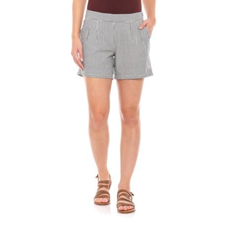 Image of Deep Navy Seersucka Shorts - Organic Cotton (For Women)