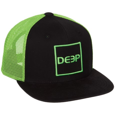 Deep Square Trucker Hat in Black/Lime
