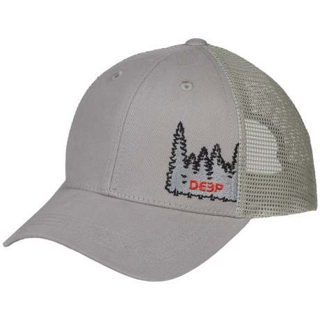 Deep Tree Line Trucker Hat (For Men and Women) in Grey/Red