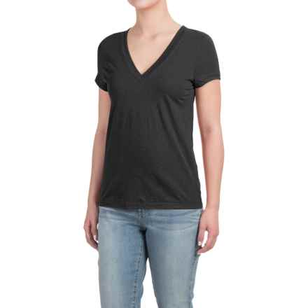 Deep V-Neck T-Shirt - Cotton-Modal, Short Sleeve (For Women) in Black - Closeouts