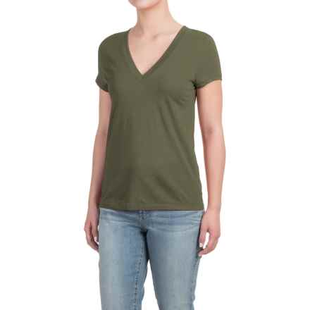 Deep V-Neck T-Shirt - Cotton-Modal, Short Sleeve (For Women) in Bright Forest - Closeouts