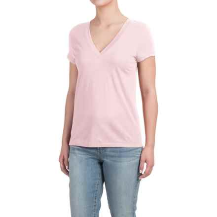 Deep V-Neck T-Shirt - Cotton-Modal, Short Sleeve (For Women) in Light Pink - Closeouts