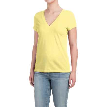 Deep V-Neck T-Shirt - Cotton-Modal, Short Sleeve (For Women) in Luminary - Closeouts