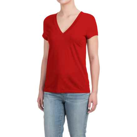 Deep V-Neck T-Shirt - Cotton-Modal, Short Sleeve (For Women) in Mars - Closeouts