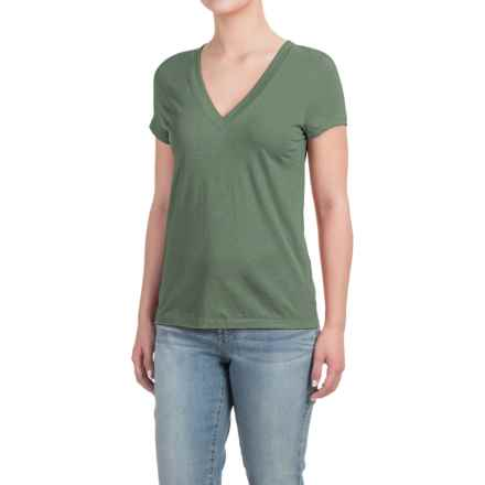 Deep V-Neck T-Shirt - Cotton-Modal, Short Sleeve (For Women) in Olive - Closeouts