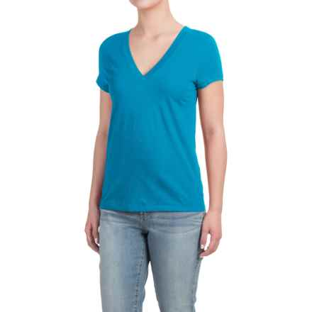 Deep V-Neck T-Shirt - Cotton-Modal, Short Sleeve (For Women) in Turquoise - Closeouts