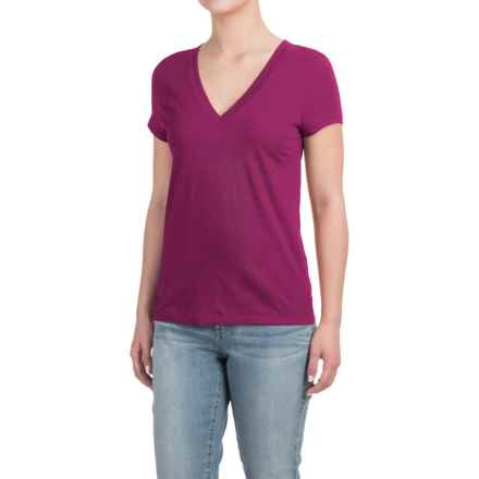 Deep V-Neck T-Shirt - Cotton-Modal, Short Sleeve (For Women) in Very Berry - Closeouts