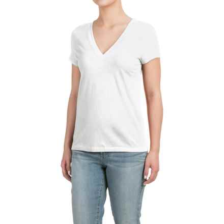 Deep V-Neck T-Shirt - Cotton-Modal, Short Sleeve (For Women) in White - Closeouts