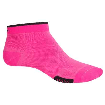 DeFeet Cyclismo Cycling Socks - Below the Ankle (For Men and Women) in Pink/Black Stripe - Closeouts