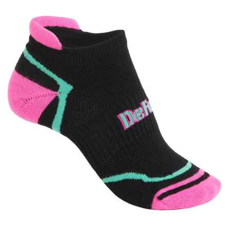 DeFeet D-Evo Running Socks - CoolMax®, Below the Ankle (For Men and Women) in Tabby Black/Pink/Celeste Green - Closeouts