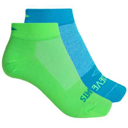 DeFeet Speede Inspirational Cycling Socks - 2-Pack, Below the Ankle (For Women) in Blue/Green - Closeouts