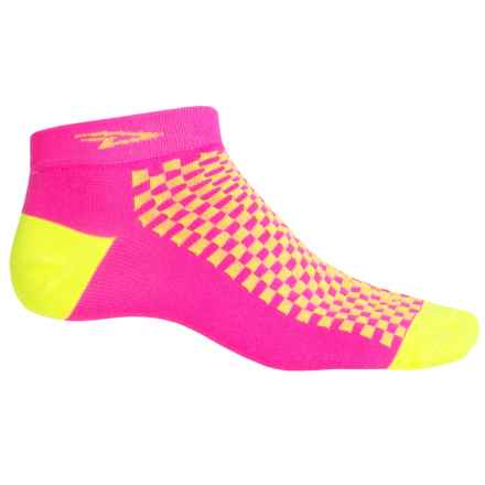 DeFeet Speede Neon D-Logo Cycling Socks - Below the Ankle (For Men and Women) in Pink/Yellow - Closeouts
