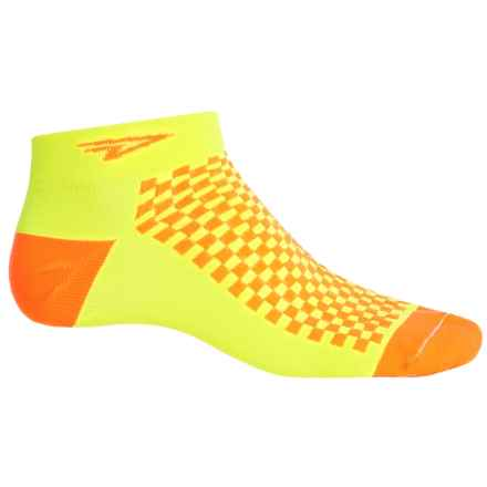 DeFeet Speede Neon D-Logo Cycling Socks - Below the Ankle (For Men and Women) in Yellow/Orange - Closeouts