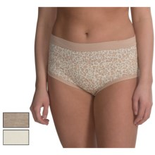 Delta Burke Basic Brief Panties - 3-Pack (For Plus Size Women) in Oyster Leopard/White Swan/Taupe Heather - Closeouts
