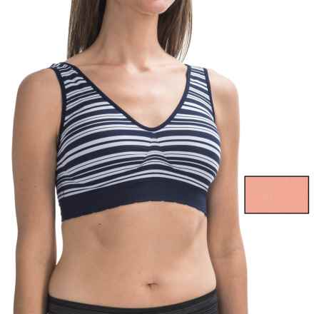 Delta Burke Intimates Seamless Bras - 2-Pack (For Plus-Size Women) in Navy Stripe/Salmon Solid - Closeouts