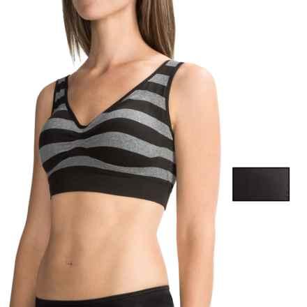 Delta Burke Mini-Stripe Seamless Comfort Bra - 2-Pack (For Women) in Black/Medium Grey Heather Stripe - Closeouts