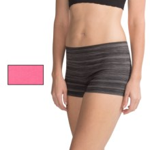 Delta Burke Seamless Panties - 2-Pack, Boy Shorts (For Plus-Size Women) in Black/Carmine Coral - Closeouts