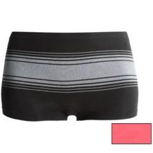 Delta Burke Seamless Panties - 2-Pack, Boy Shorts (For Plus-Size Women) in Black Medium Heather Grey Stripe/Harajuku Pink - Closeouts