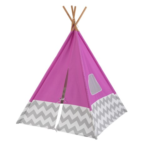 Image of Deluxe Play Pink and Gray Chevron Teepee