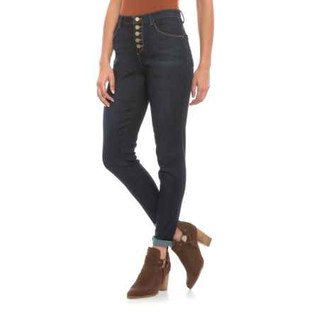 AbTechnology Button Front Ankle Roll Cuff Jeans - High-Rise Waist (For Women) in Indigo - Closeouts