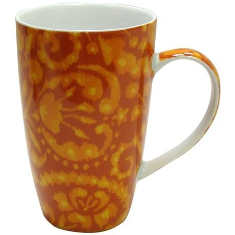 Dena Home Coffee Mugs - Porcelain, Set of 4 in Orange Ikat