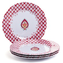 Dena Morocco Heavy-Gauge Melamine Ikat Dinner Plates- Set of 4 in Red / White - Overstock