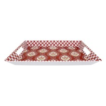 Dena Morocco Heavy-Gauge Melamine Ikat Handled Tray in Red / White - Overstock