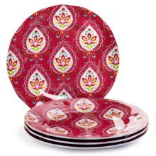Dena Morocco Heavy-Gauge Melamine Ikat Salad Plates- Set of 4 in Red / White - Overstock