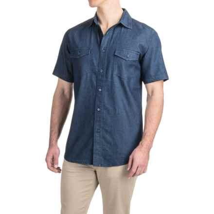 Denim Button-Up Shirt - Short Sleeve (For Men) in Dark Denim - 2nds