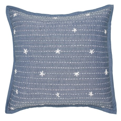 Image of Denim Embroidered Daisy Throw Pillow - 22x22?
