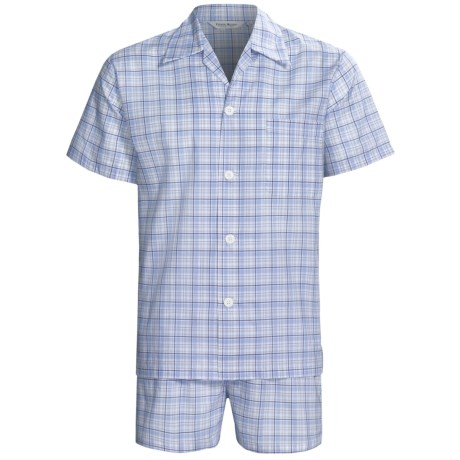 Derek Rose Lightweight Shortie Pajamas - Notch Collar, Short Sleeve (For Men) in Blue Plaid