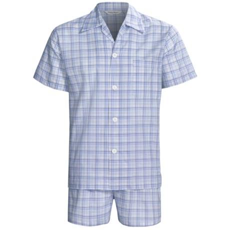 Derek Rose Lightweight Shortie Pajamas - Notch Collar, Short Sleeve (For Men) in Blue Plaid