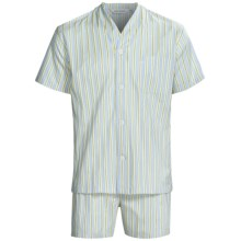 Derek Rose Lightweight Shortie Pajamas - V-Neck, Short Sleeve (For Men) in Royal/Gold Stripe - Closeouts