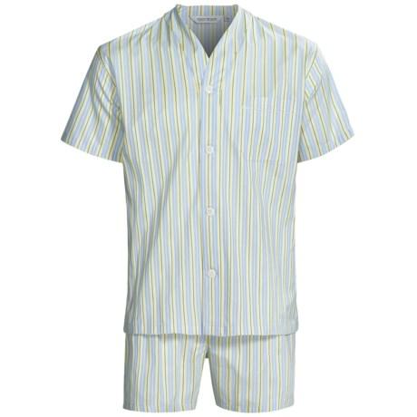 Derek Rose Lightweight Shortie Pajamas - V-Neck, Short Sleeve (For Men) in Royal/Gold Stripe