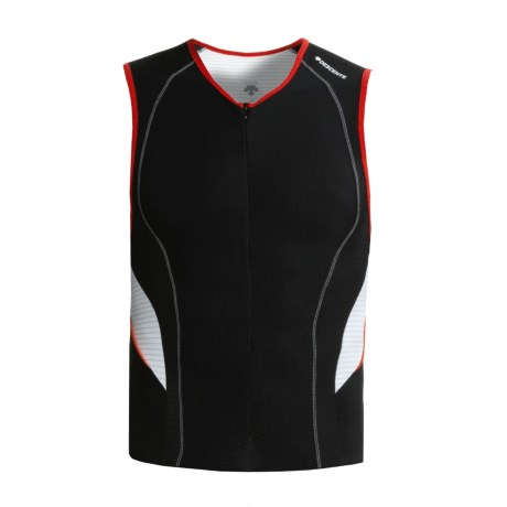 Descente C6 Tri Shirt - Sleeveless (For Men) in Black/White