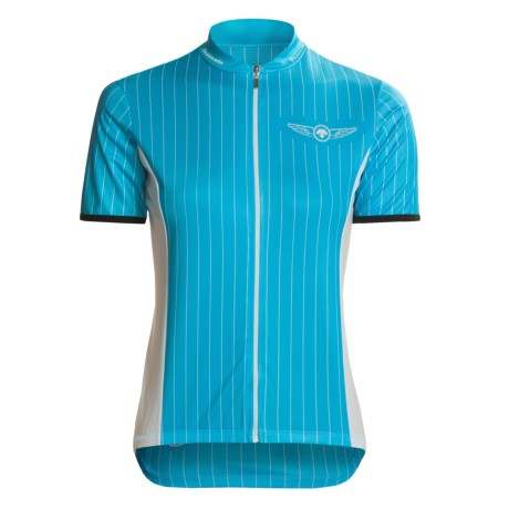 Descente Lee Hill Chill Cycling Jersey - Short Sleeve, Full Zip (For Women) in Carribean Blue