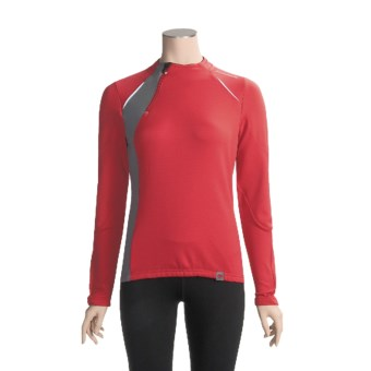 Descente Signature Cycling Jersey - Zip Neck, Long Sleeve (For Women) in True Red/Iron