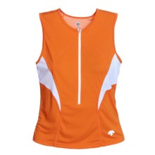 Descente Tri Jersey - Zip Neck, Sleeveless (For Women) in Orange - Closeouts