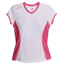 Descente Twist Shirt - Short Sleeve (For Women) in White/Fire Pink - Closeouts