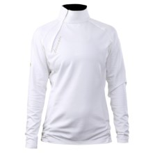Descente Violet Shirt - Asymmetric Zip Neck, Long Sleeve (For Women) in Super White - Closeouts